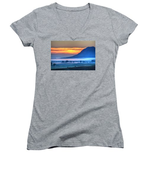 Women's V-Neck featuring the photograph Foggy Morning by Fiskr Larsen