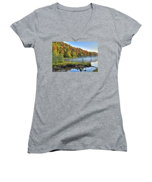 Women's V-Neck T-Shirt featuring the photograph Foggy Morning On The Pond by David Patterson