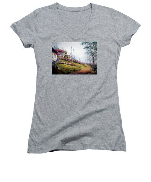 Women's V-Neck T-Shirt (Junior Cut) featuring the painting Foggy Mountain Village by Samiran Sarkar