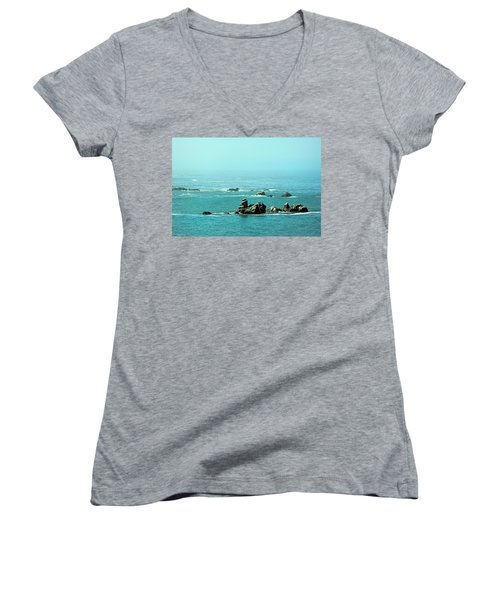 Sunny Blue Pacific Ocean Along The Oregon Coast Women's V-Neck (Athletic Fit)