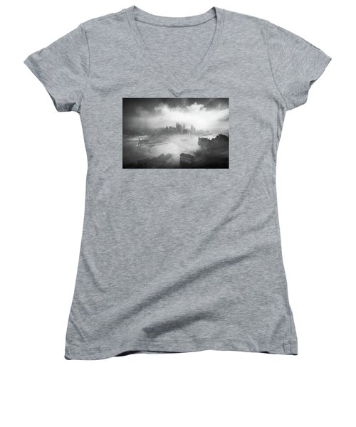 Women's V-Neck T-Shirt (Junior Cut) featuring the photograph Foggy Pittsburgh  by Emmanuel Panagiotakis