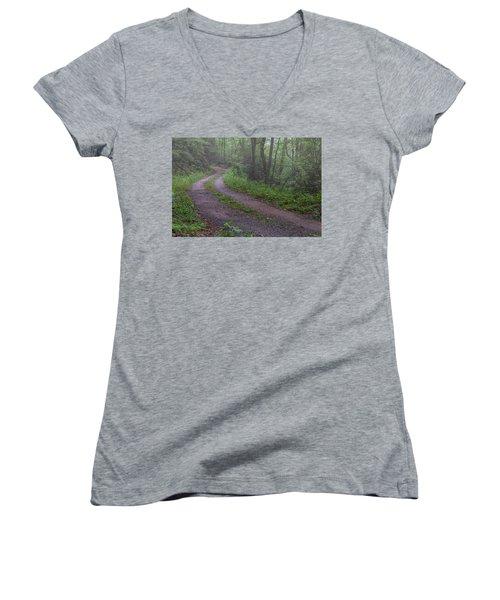Foggy Road Women's V-Neck T-Shirt (Junior Cut) by David Cote
