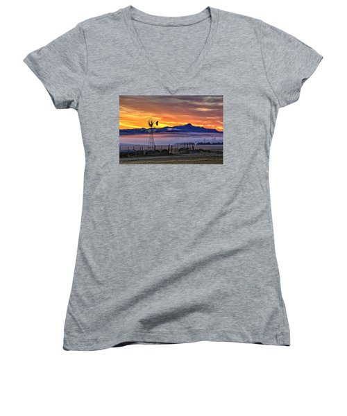 Women's V-Neck featuring the photograph Foggy Spearfish Sunrise by Fiskr Larsen