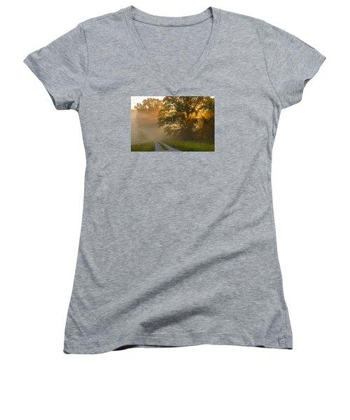 Fogy Summer Morning Women's V-Neck T-Shirt (Junior Cut) by Ulrich Burkhalter