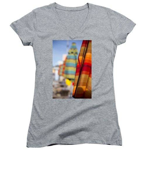 Women's V-Neck T-Shirt featuring the photograph Folded by Lora Lee Chapman
