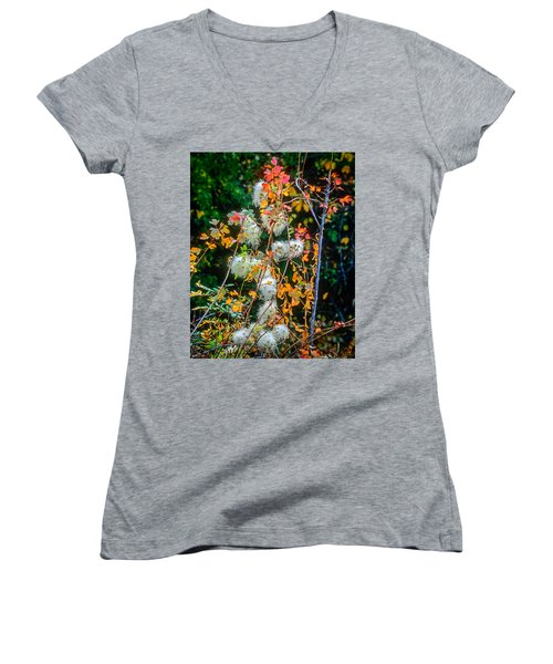 Foliage Twisted Colored Leaves Women's V-Neck T-Shirt (Junior Cut) by John Brink