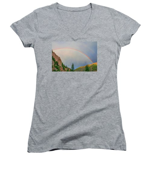 Follow The Rainbow To The Majestic Rockies Of Colorado.  Women's V-Neck T-Shirt (Junior Cut) by Bijan Pirnia
