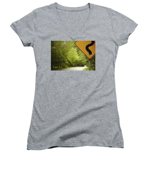 Women's V-Neck T-Shirt (Junior Cut) featuring the photograph Follow The Sign by Cendrine Marrouat