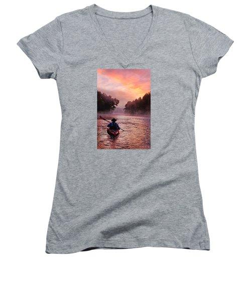 Following The Light Women's V-Neck T-Shirt (Junior Cut) by Robert Charity