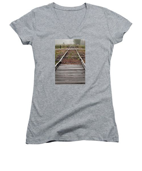 Women's V-Neck T-Shirt (Junior Cut) featuring the photograph Following The Tracks by Monte Stevens