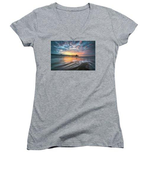 Folly Beach Sc Ocean Seascape Charleston South Carolina Scenic Landscape Women's V-Neck