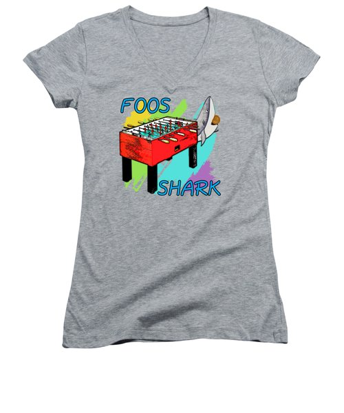 Foos Shark Women's V-Neck T-Shirt (Junior Cut) by David G Paul