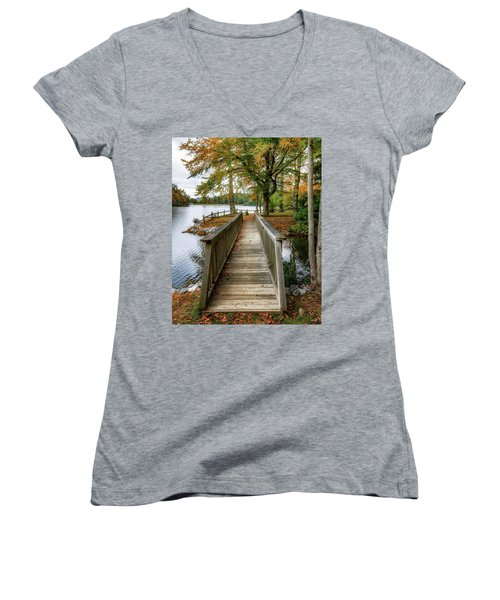 Foot Bridge At Linville Land Harbor Women's V-Neck T-Shirt