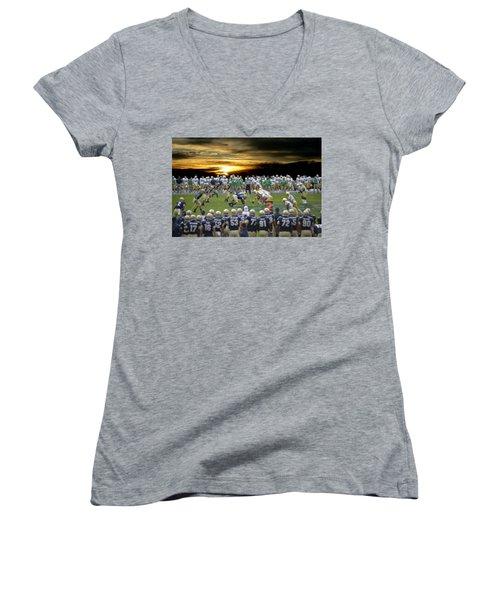 Football Field-notre Dame-navy Women's V-Neck T-Shirt (Junior Cut) by EricaMaxine  Price