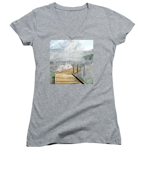 Footbridge In The Clouds Women's V-Neck T-Shirt (Junior Cut) by Deborah Nakano