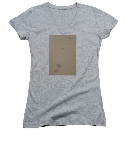Women's V-Neck T-Shirt (Junior Cut) featuring the photograph Footprint by Heidi Poulin