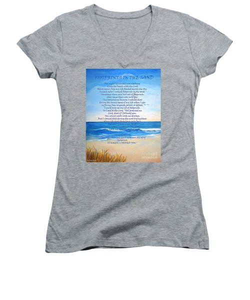 Footprints In The Sand Women's V-Neck T-Shirt (Junior Cut) by Shelia Kempf
