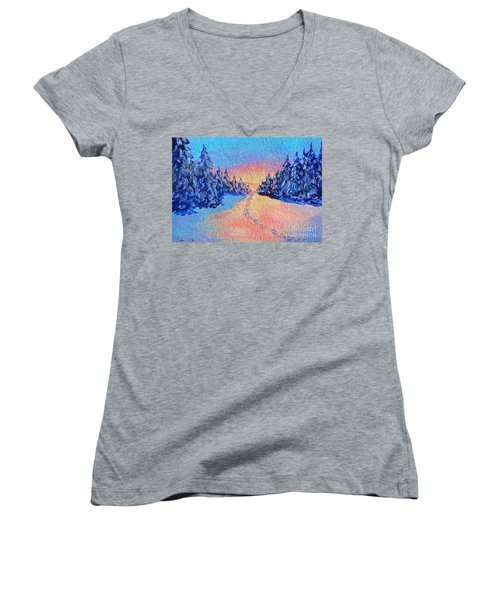 Women's V-Neck T-Shirt (Junior Cut) featuring the painting Footprints In The Snow by Li Newton
