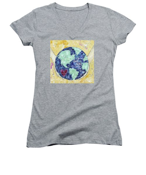 For He So Loved The World Women's V-Neck T-Shirt (Junior Cut) by Kirsten Reed