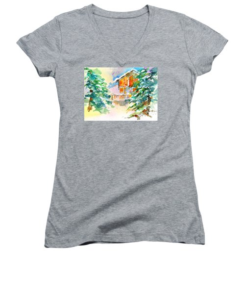 For Love Of Winter #3 Women's V-Neck T-Shirt (Junior Cut) by Betty M M Wong