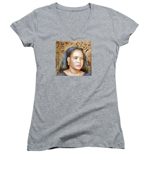 Women's V-Neck T-Shirt (Junior Cut) featuring the painting For Nicole Edwards by Wayne Pascall