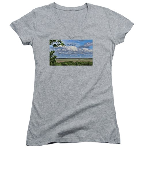 For Spacious Skies Women's V-Neck T-Shirt (Junior Cut) by Sylvia Thornton