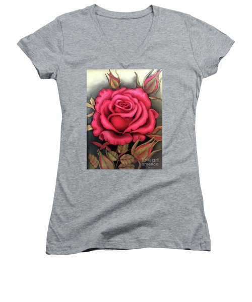 For You, The Red Rose Women's V-Neck (Athletic Fit)