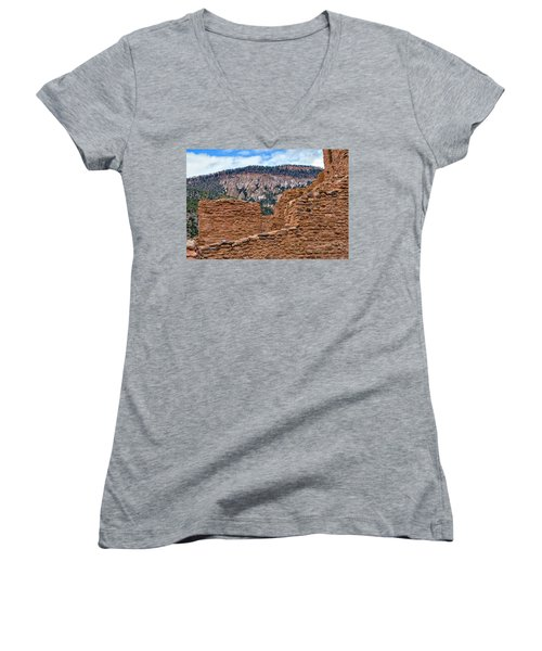 Forbidding Cliffs Women's V-Neck T-Shirt (Junior Cut) by Alan Toepfer