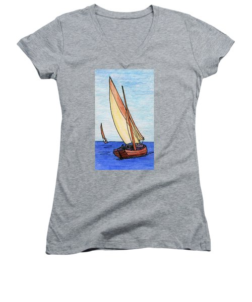 Force Of The Wind On The Sails Women's V-Neck T-Shirt (Junior Cut) by R Kyllo