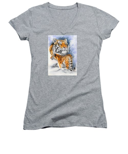 Women's V-Neck T-Shirt (Junior Cut) featuring the painting Forceful by Barbara Keith