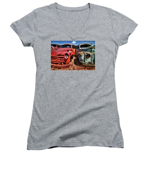 Ford And Chevy Standoff Women's V-Neck T-Shirt (Junior Cut) by Jeffrey Jensen