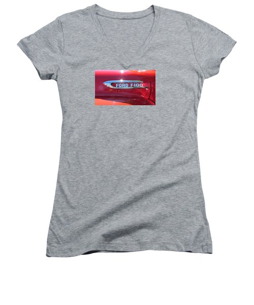 Women's V-Neck T-Shirt (Junior Cut) featuring the photograph Ford F-100 Logo by Spyder Webb