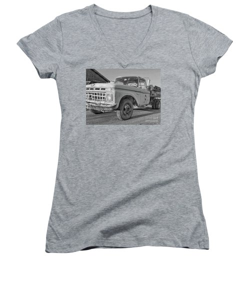 Ford F-150 Dump Truck Bw Women's V-Neck (Athletic Fit)