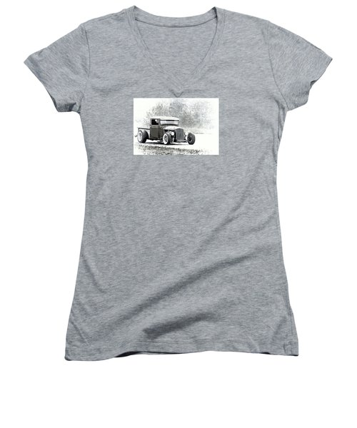 Ford Hot Rod Women's V-Neck T-Shirt (Junior Cut) by Athena Mckinzie
