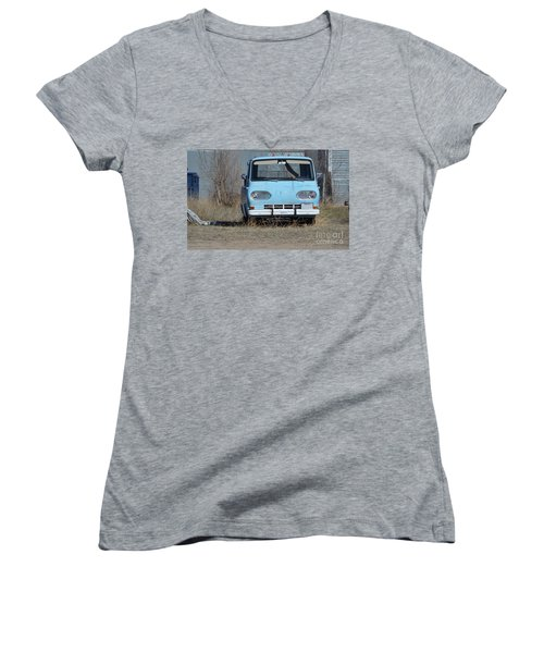 Ford Light Blue Women's V-Neck T-Shirt (Junior Cut) by Renie Rutten