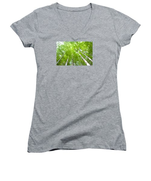 Women's V-Neck T-Shirt (Junior Cut) featuring the photograph Forest 1 by Jean Bernard Roussilhe