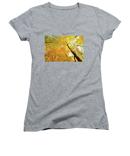 Forest Fall Yellow  Women's V-Neck T-Shirt (Junior Cut) by Lyle Crump