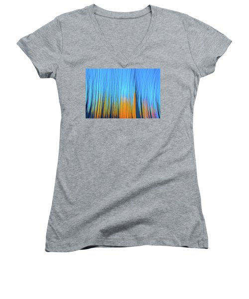 Women's V-Neck T-Shirt (Junior Cut) featuring the photograph Forest Fire by Tony Beck