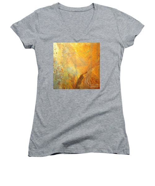 Women's V-Neck T-Shirt (Junior Cut) featuring the mixed media Forest Gold by Michael Rock