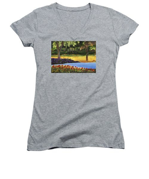 Women's V-Neck T-Shirt featuring the painting Forest Lake by Jamie Frier