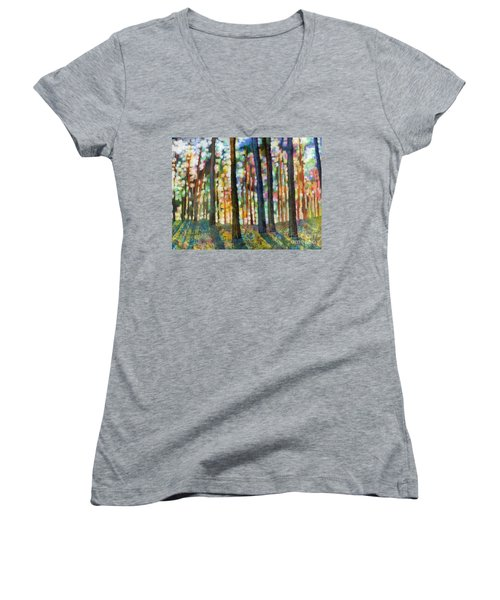 Women's V-Neck T-Shirt (Junior Cut) featuring the painting Forest Light by Hailey E Herrera