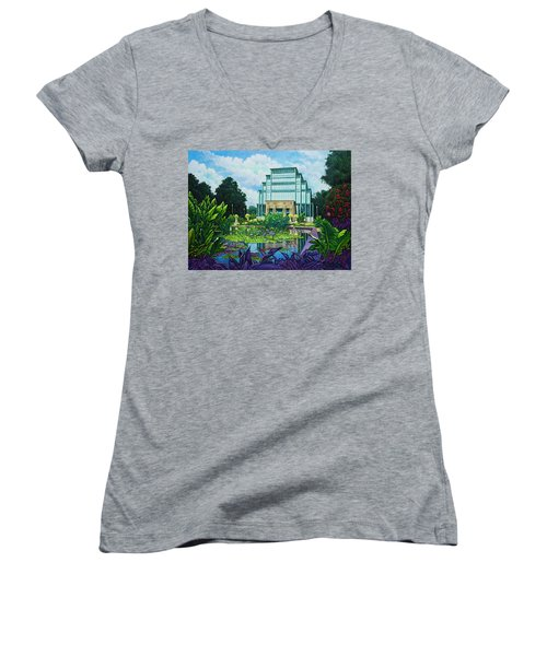 Women's V-Neck T-Shirt (Junior Cut) featuring the painting Forest Park Jewel Box by Michael Frank