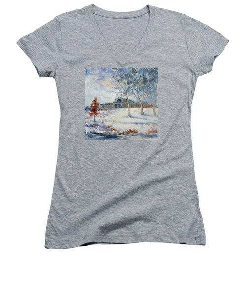 Forest Park Winter Women's V-Neck T-Shirt (Junior Cut)