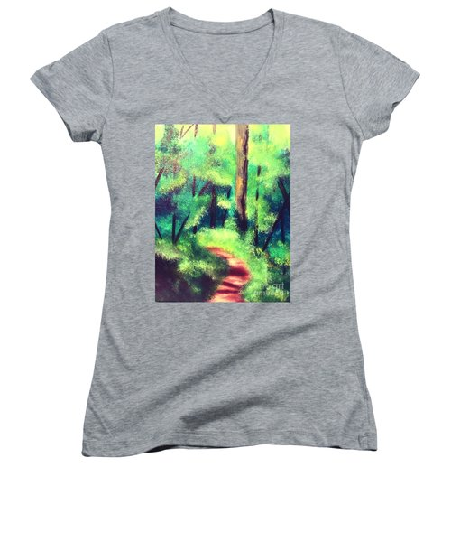 Forest Path Women's V-Neck T-Shirt (Junior Cut) by Denise Tomasura