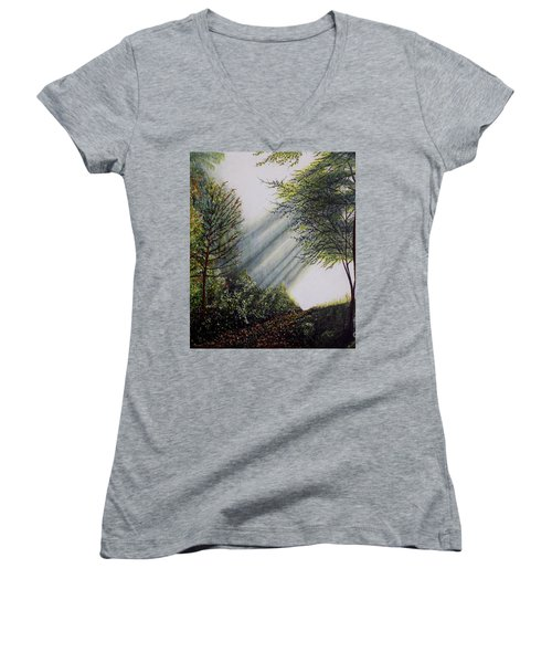 Women's V-Neck T-Shirt (Junior Cut) featuring the painting Forest Pathway by Judy Kirouac