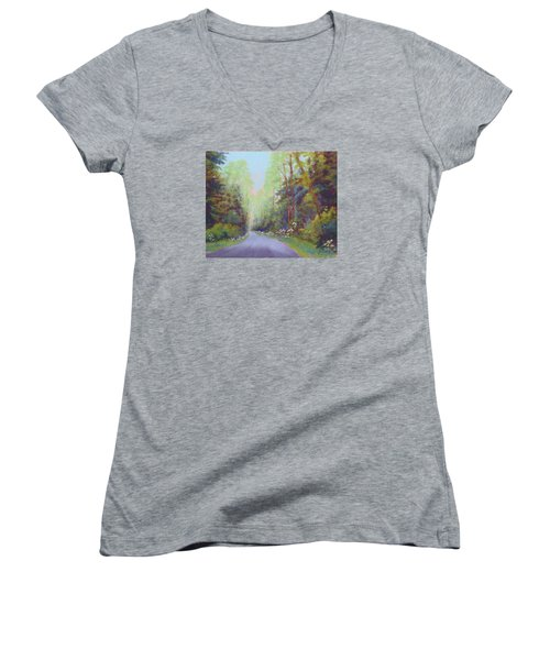 Women's V-Neck T-Shirt (Junior Cut) featuring the painting Forest Road by Nancy Jolley