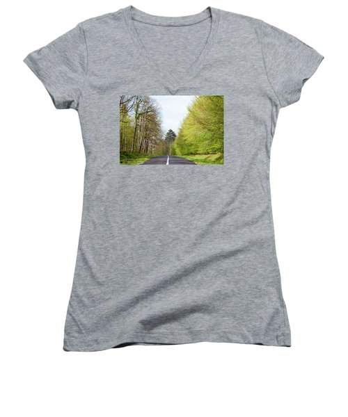 Forest Road Women's V-Neck T-Shirt (Junior Cut) by Yoel Koskas