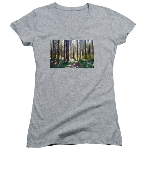 Forest Stroll Women's V-Neck (Athletic Fit)