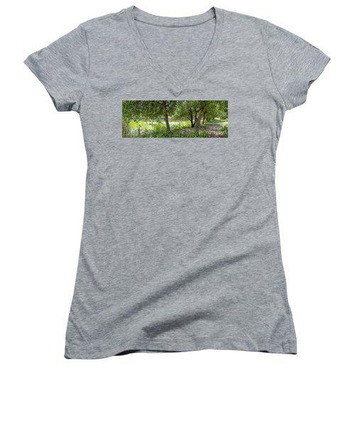 Forest Trail Women's V-Neck T-Shirt (Junior Cut) by Arik Baltinester