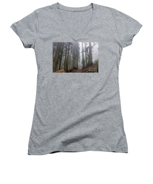Women's V-Neck T-Shirt featuring the photograph Forest Walking Path by Peggy Hughes